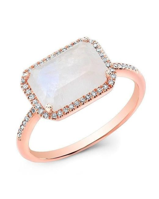 Anne Sisteron - Metallic 14kt Rose Gold Moonstone Diamond Chic Ring - Lyst
