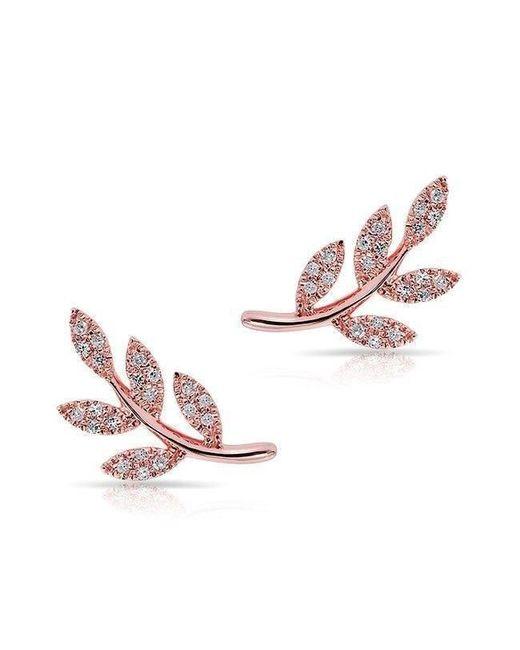 Anne Sisteron - Pink 14kt Rose Gold Diamond Leaf Stud Earrings - Lyst