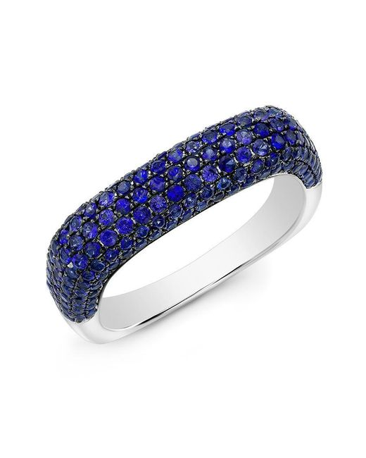 Anne Sisteron - 14kt White Gold Blue Sapphire Square Ring - Lyst