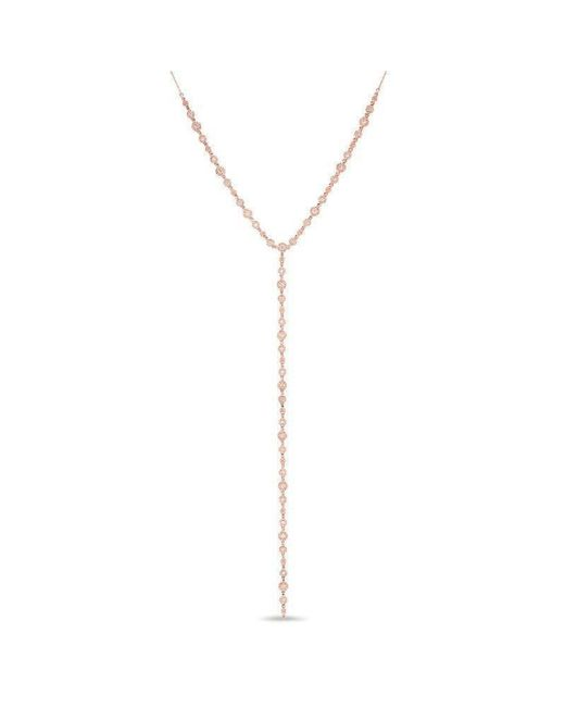 Anne Sisteron - Metallic 14kt Rose Gold Diamond Bezel Pave Lariat Necklace - Lyst