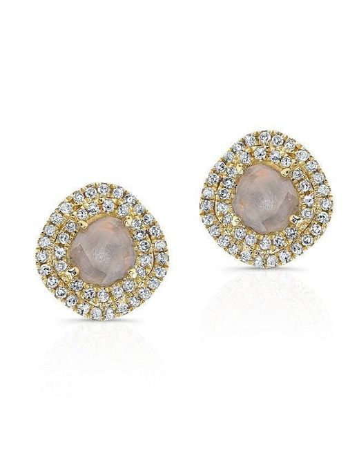 Anne Sisteron - Metallic 14kt Yellow Gold Diamond Slice Double Halo Stud Earrings - Lyst