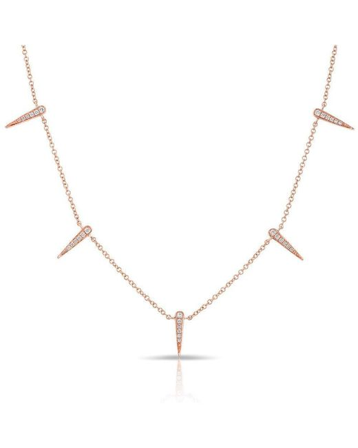 Anne Sisteron - Metallic 14kt Rose Gold Diamond Multi Mini Dagger Necklace - Lyst