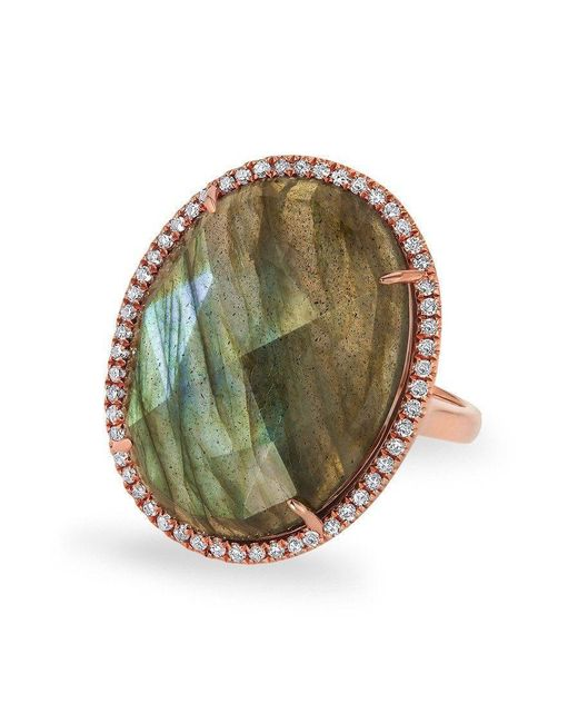 Anne Sisteron - Metallic 14kt Rose Gold Labradorite Diamond Oval Cocktail Ring - Lyst