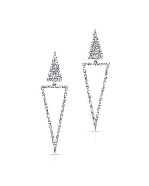 Anne Sisteron - Metallic 14kt White Gold Diamond Open Triangle Drop Earrings - Lyst