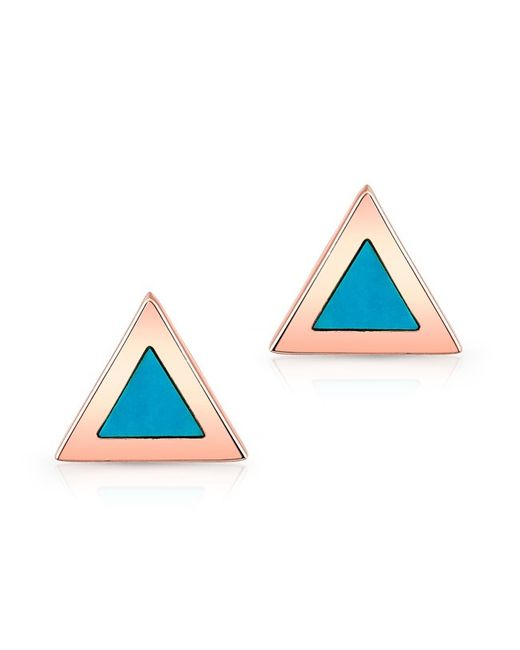 Anne Sisteron | Blue 14kt Rose Gold And Turquoise Triangle Stud Earrings | Lyst