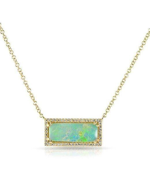 Anne Sisteron - 14kt Yellow Gold Green Opal Diamond Block Necklace - Lyst