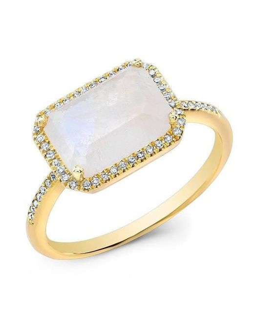 Anne Sisteron - Metallic 14kt Yellow Gold Moonstone Diamond Chic Ring - Lyst