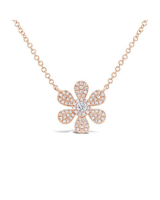 Anne Sisteron - Metallic 14kt Rose Gold Diamond Daisy Flower Necklace - Lyst