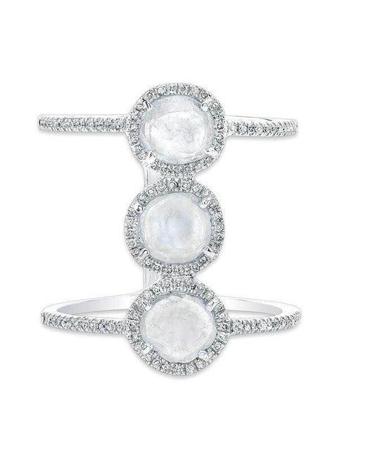 Anne Sisteron - Multicolor 14kt White Gold Triple Diamond Slice H Ring - Lyst