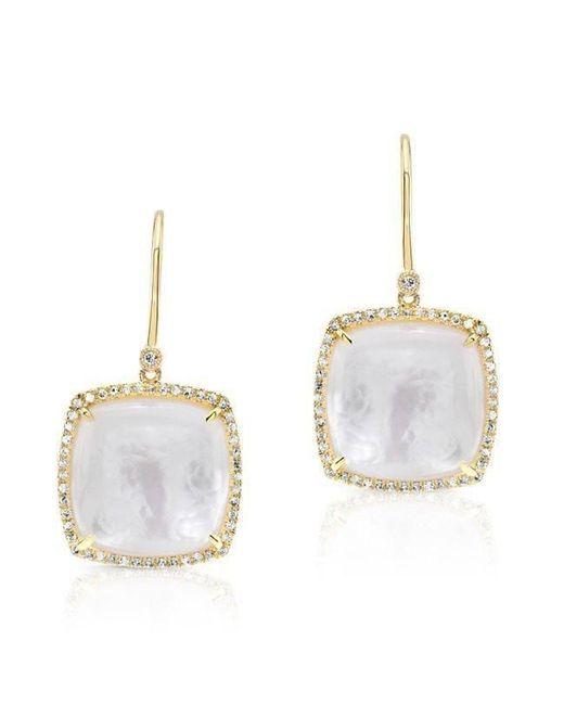 Anne Sisteron - Metallic 14kt Yellow Gold Diamond Mother Of Pearl Cushion Cut Earrings - Lyst