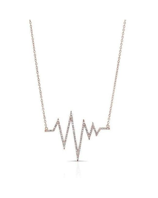 Anne Sisteron - Metallic 14kt Rose Gold Diamond Heartbeat Necklace - Lyst