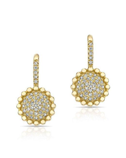 Anne Sisteron - Multicolor 14kt Yellow Gold Diamond Scalloped Wireback Earrings - Lyst
