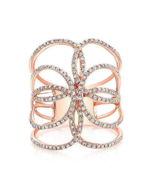 Anne Sisteron - Multicolor 14kt Rose Gold Diamond Butterfly Ring - Lyst