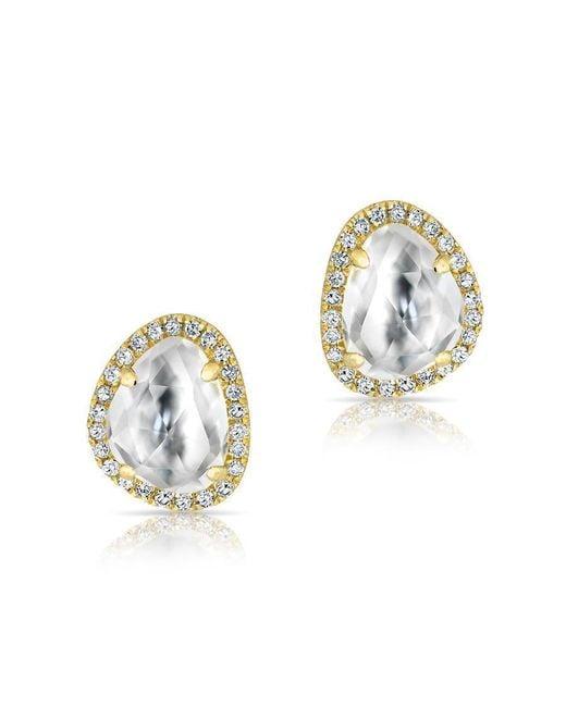 Anne Sisteron - Metallic 14kt Yellow Gold Mini Organic Topaz Diamond Stud Earrings - Lyst