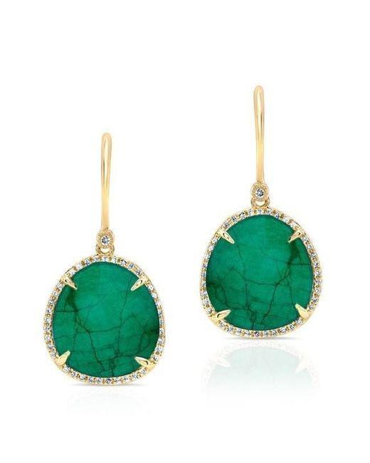 Anne Sisteron - Green 14kt Yellow Gold Emerald Diamond Luxe Earrings - Lyst