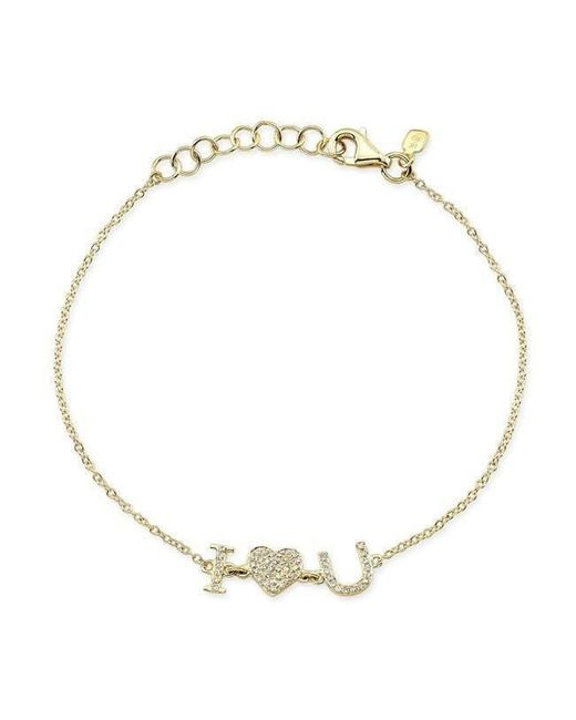 Anne Sisteron - Metallic 14kt Yellow Gold Diamond I - Heart - U Bracelet - Lyst