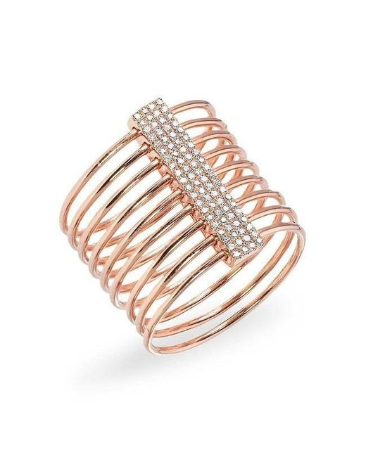 Anne Sisteron - Pink 14kt Rose Gold And Oxidized Diamond Slink Ring - Lyst