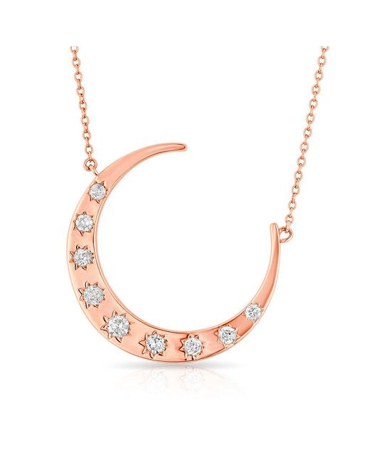 Anne Sisteron - Multicolor 14kt Rose Gold Diamond Luxe Starlight Moon Necklace - Lyst