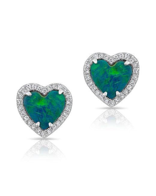 Anne Sisteron - Multicolor 14kt White Gold Opal Diamond Heart Stud Earrings - Lyst