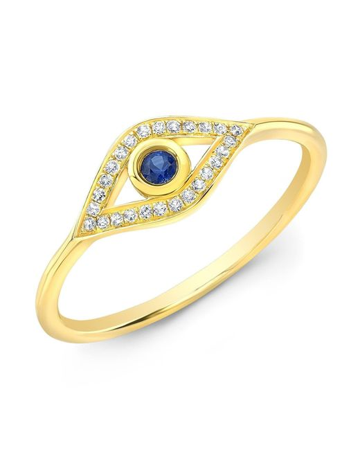 Anne Sisteron - Metallic 14kt Yellow Gold Diamond Sapphire Open Evil Eye Ring - Lyst