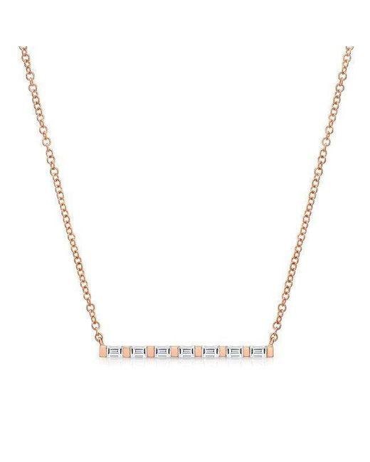 Anne Sisteron | Metallic 14kt Rose Gold Baguette Diamond Bar Necklace | Lyst