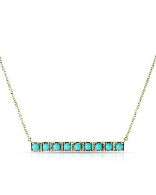 Anne Sisteron - Blue 14kt Yellow Gold Turquoise Diamond Bar Necklace - Lyst