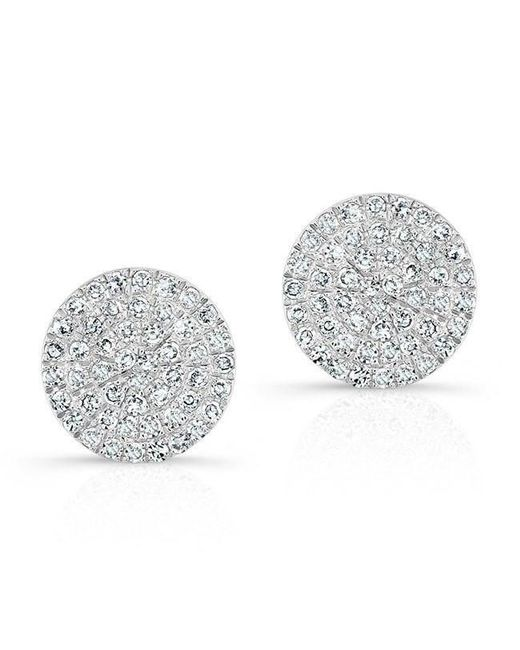 Anne Sisteron | Metallic 14kt White Gold Diamond Medium Disc Stud Earrings | Lyst
