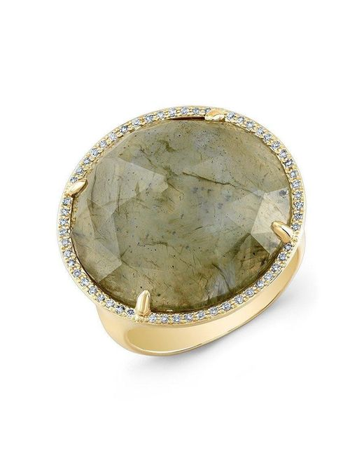 Anne Sisteron | Metallic 14kt Yellow Gold Labradorite Diamond Fancy Cocktail Ring | Lyst