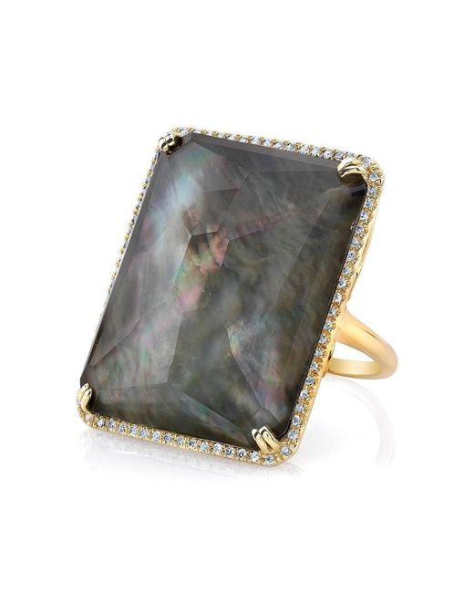 Anne Sisteron | Metallic 14kt Yellow Gold Black Mother Of Pearl Rectangle Diamond Cocktail Ring | Lyst