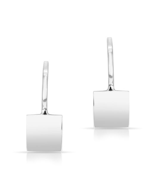 Anne Sisteron | Metallic 14kt White Gold Solid Square Huggie Earrings | Lyst
