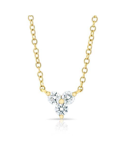 Anne Sisteron - Metallic 14kt Yellow Gold Triple Diamond Mini Clover Necklace - Lyst