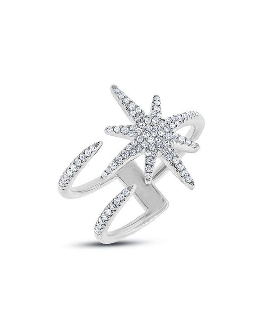 Anne Sisteron - Metallic 14kt White Gold Diamond Star Wrap Ring - Lyst