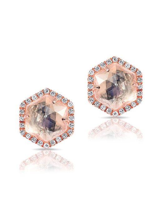 Anne Sisteron - Pink 14kt Rose Gold Moonstone Diamond Hexagon Stud Earrings - Lyst