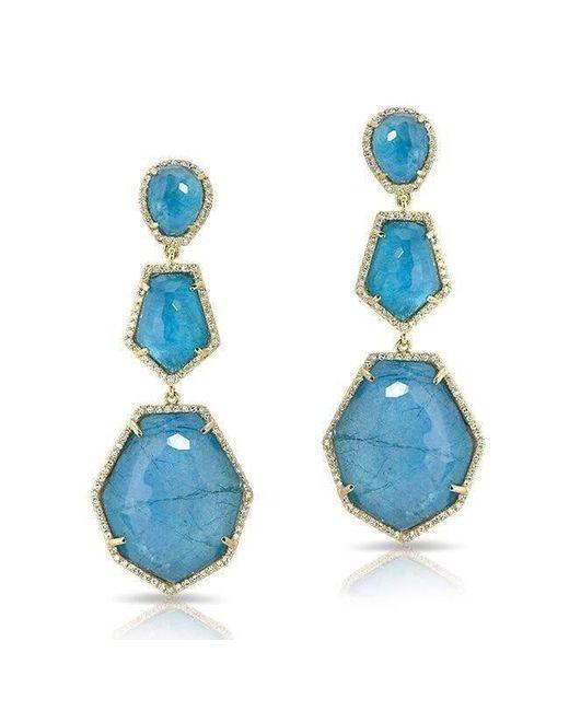 Anne Sisteron - 14kt Yellow Gold Blue Apatite Diamond Triple Drop Earrings - Lyst