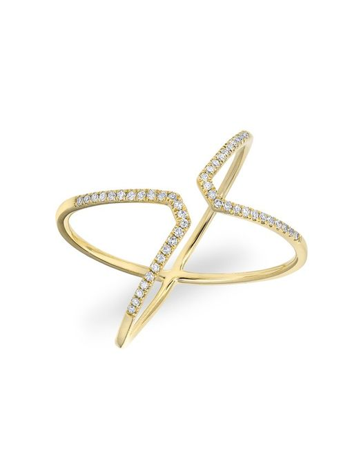 Anne Sisteron | Metallic 14kt Yellow Gold Diamond Open X Ring | Lyst