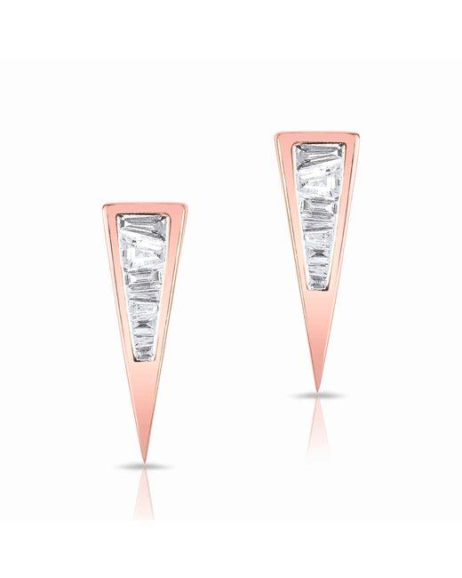 Anne Sisteron | Metallic 14kt Rose Gold Baguette Diamond Triangle Stud Earrings | Lyst
