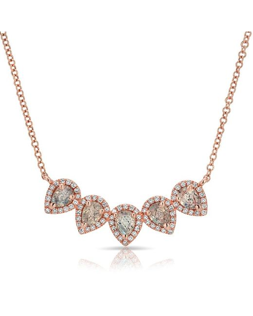 Anne Sisteron - Multicolor 14kt Rose Gold Labradorite Diamond Crown Necklace - Lyst