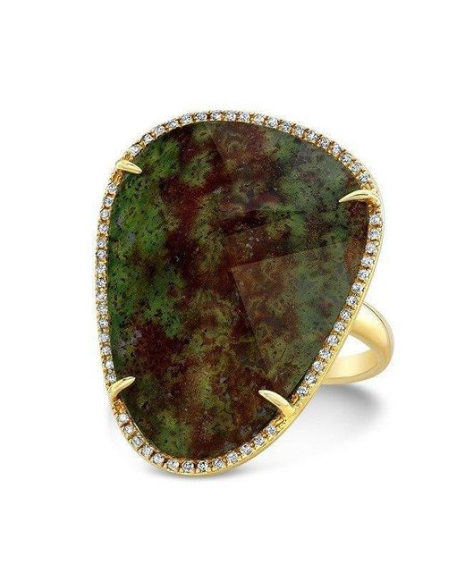 Anne Sisteron   Multicolor 14kt Yellow Gold Blood Stone Diamond Organic Shape Diamond Cocktail Ring   Lyst