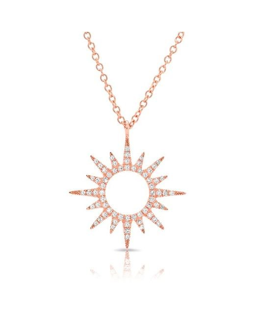 Anne Sisteron | Metallic 14kt Rose Gold Diamond Open Mini Sunburst Necklace | Lyst