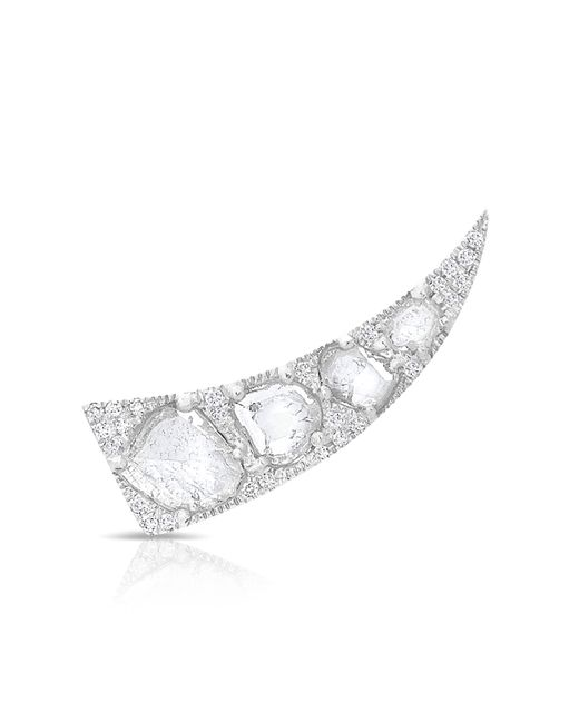Anne Sisteron | Metallic 14kt White Gold Diamond Slice Horn Ear Climber | Lyst