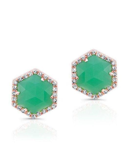 Anne Sisteron - Green 14kt White Gold Chrysoprase Diamond Hexagon Stud Earrings - Lyst