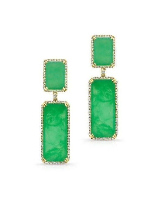 Anne Sisteron - Green 14kt Yellow Gold Chrysoprase Diamond Anna Earrings - Lyst