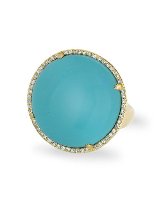 Anne Sisteron Blue 14kt Yellow Gold Diamond Turquoise Round Cocktail Ring