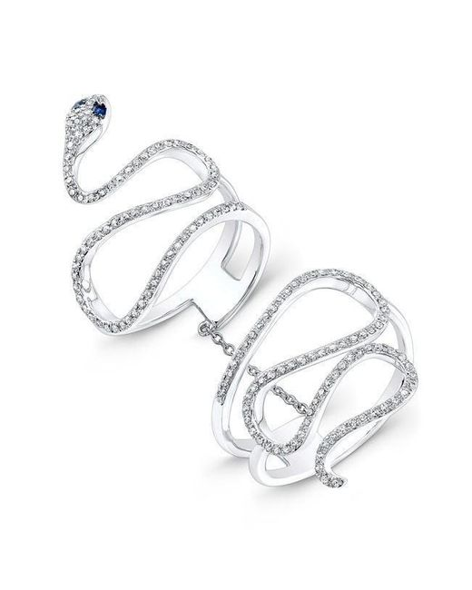 Anne Sisteron - Metallic 14kt White Gold Diamond Blue Sapphire Snake Connector Ring - Lyst