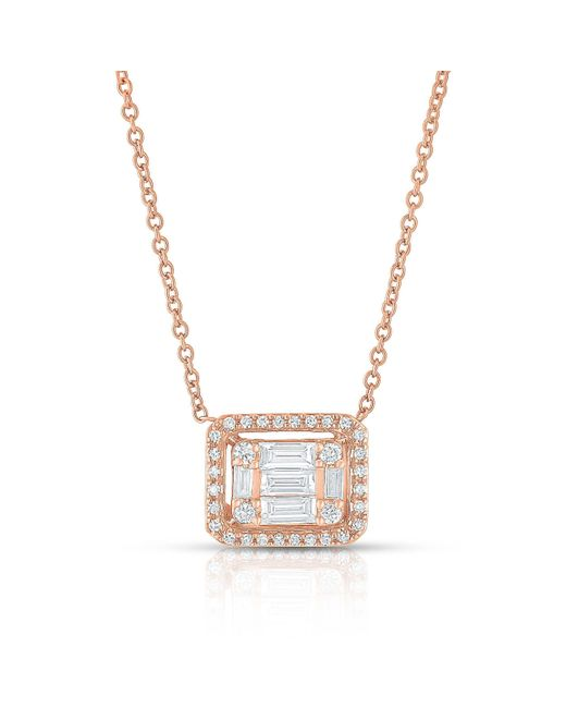 Anne Sisteron - Multicolor 14kt Rose Gold Baguette Diamond Rectangle Ryleigh Necklace - Lyst
