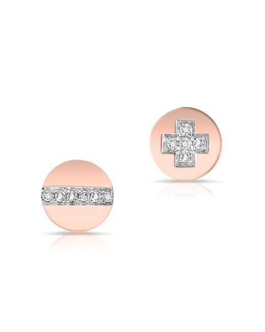 Anne Sisteron - Pink 14kt Rose Gold Diamond Reverse Hardware Stud Earrings - Lyst