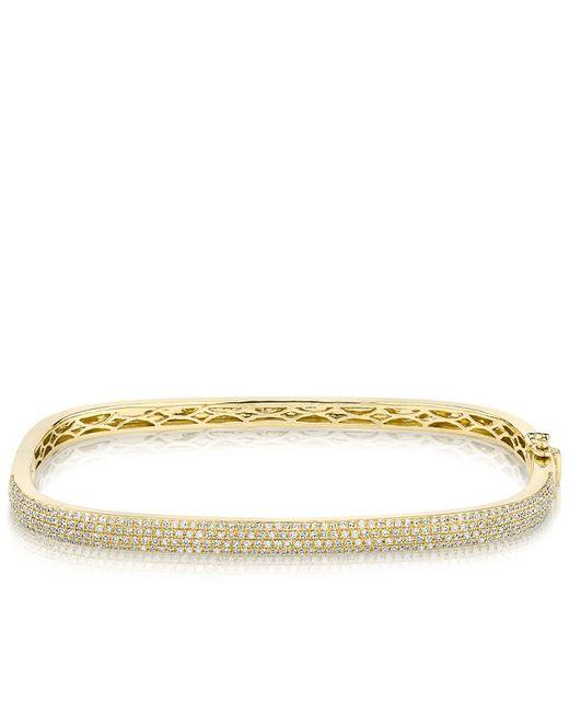 Anne Sisteron | Metallic 14kt Yellow Gold Half Diamond Square Bangle Bracelet | Lyst