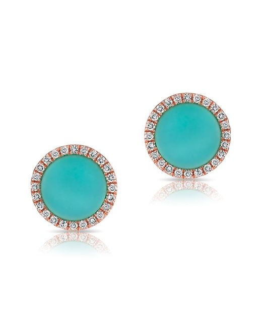 Anne Sisteron - Blue 14kt Rose Gold Turquoise Diamond Disc Stud Earrings - Lyst