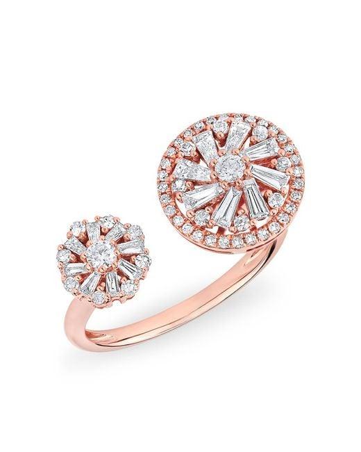 Anne Sisteron | White 14kt Rose Gold Diamond Baguette Paris Ring | Lyst