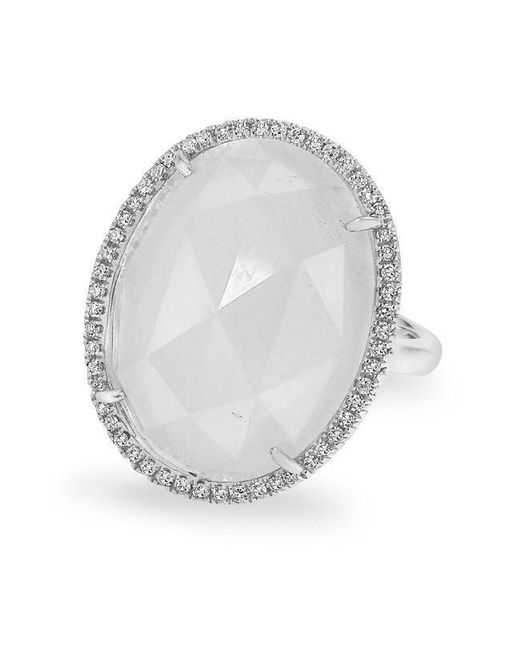 Anne Sisteron - Metallic 14kt White Gold Moonstone Diamond Oval Cocktail Ring - Lyst